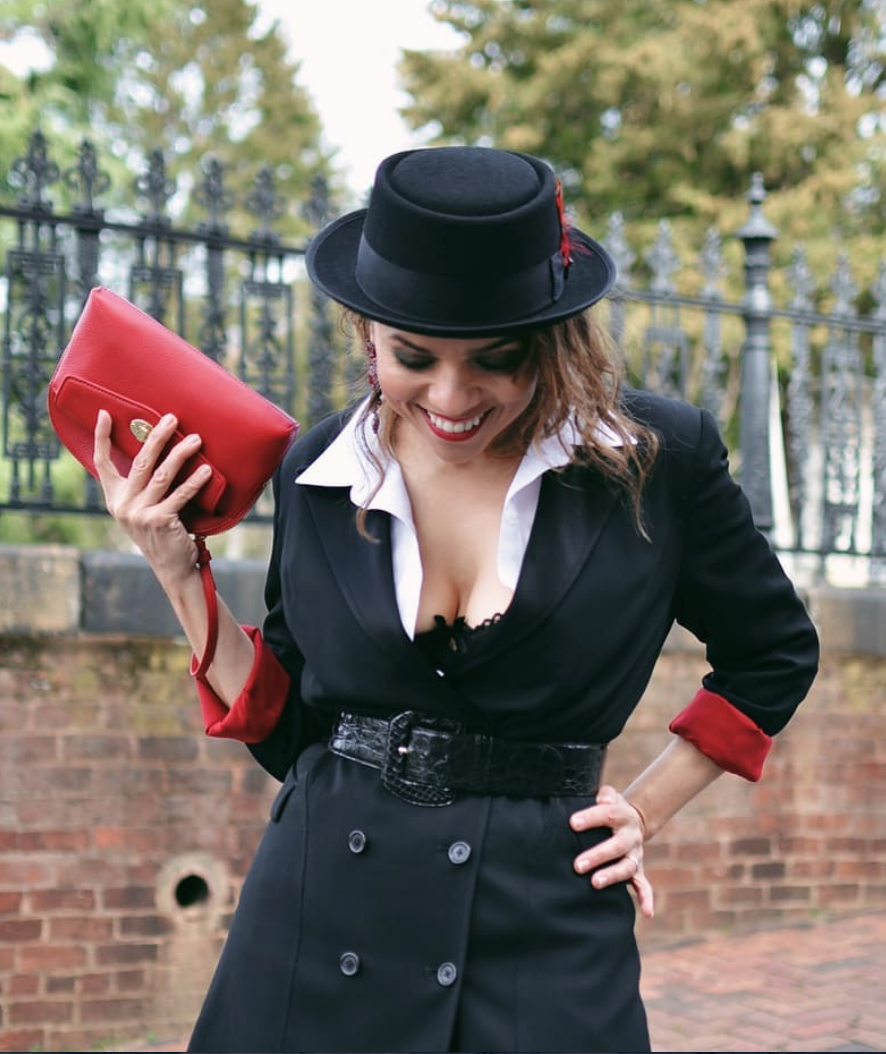 Wine lover, mother and blogger Carelia in our tux dress. A pop of red is her signature! -