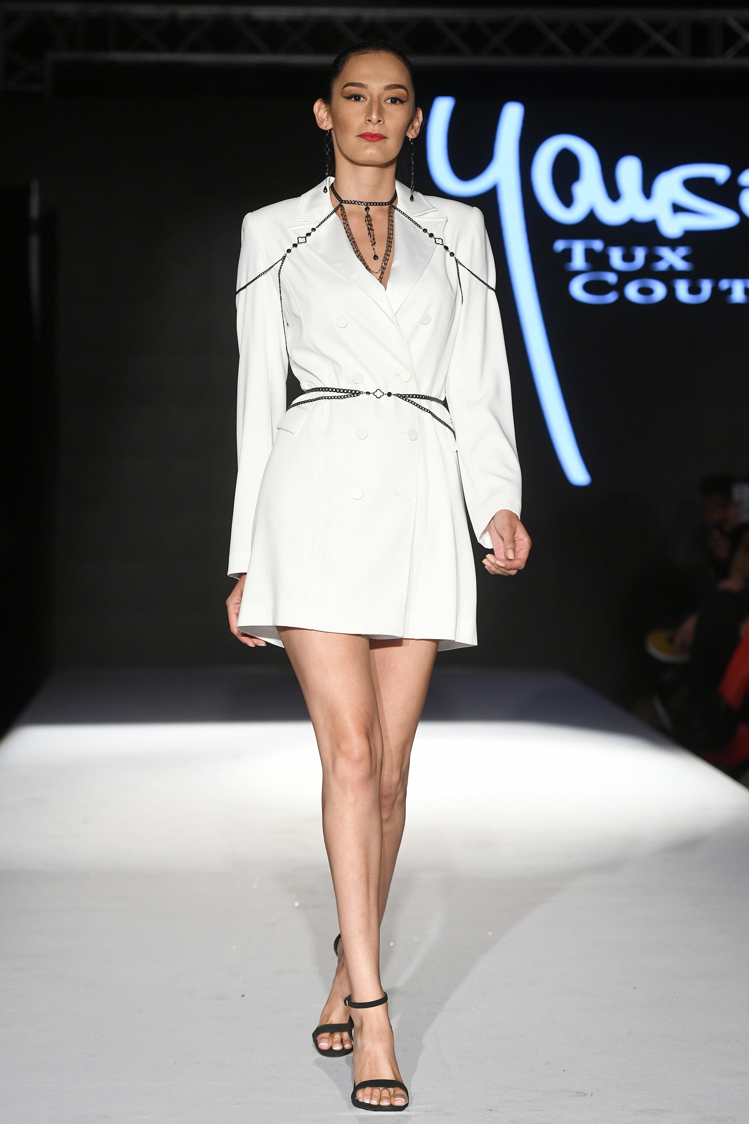 white tux dress