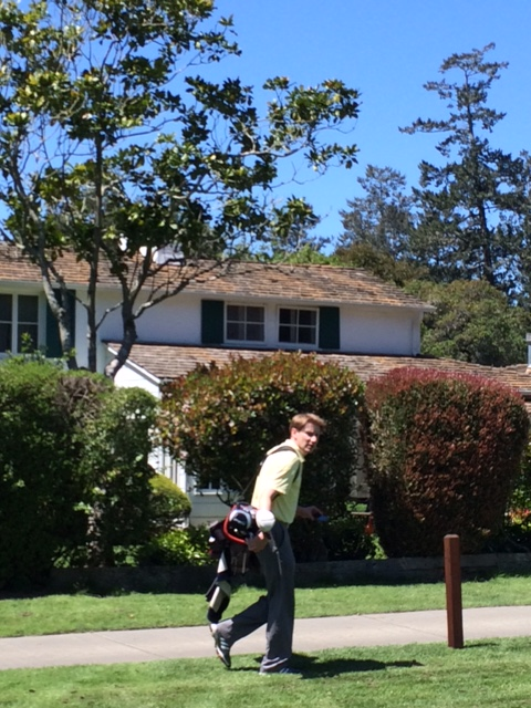 A perpetually hatless Mr. Stein passing by MacKenzie's ultimate residence, left of the Sixth fairway.