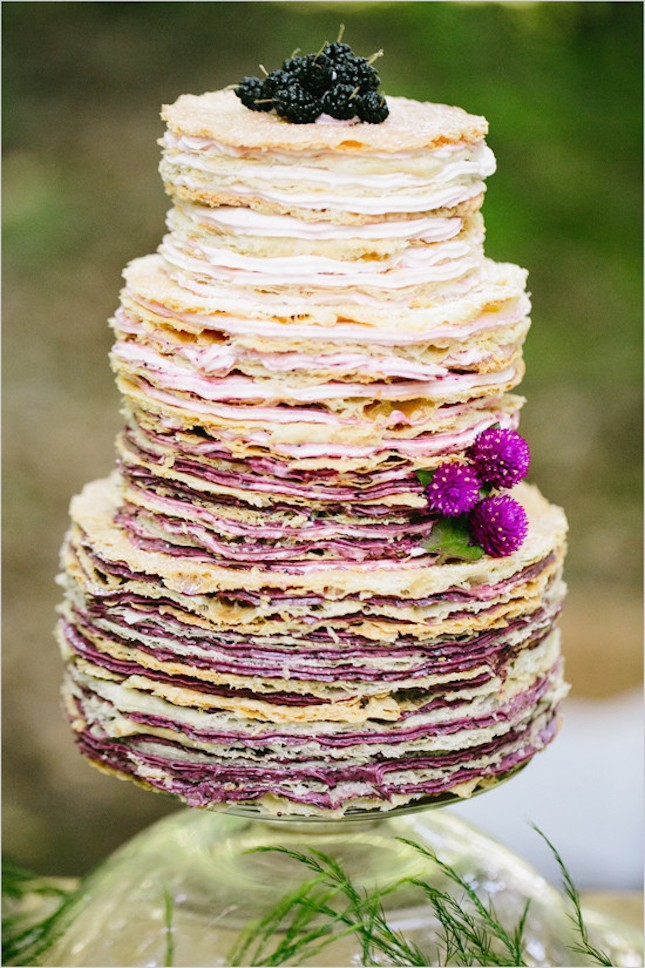 This ombre crêpe cake is perfection, and those English thistles are the perfect floral accent! Ombre  cr  ê  pe cake by  Crisan Bakery .