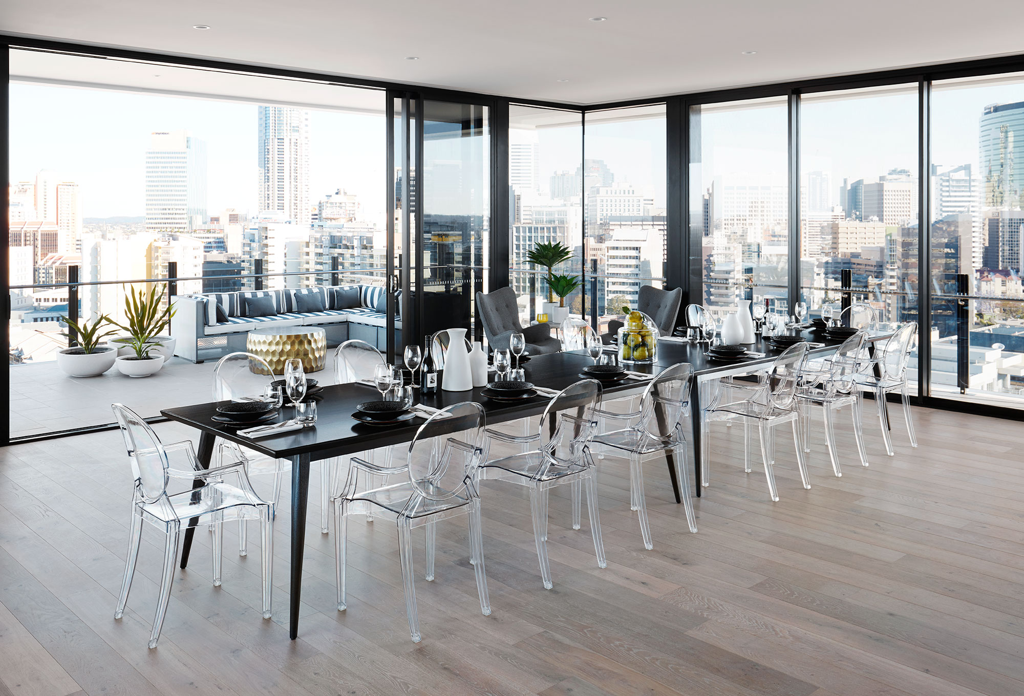 Penthouse dining.