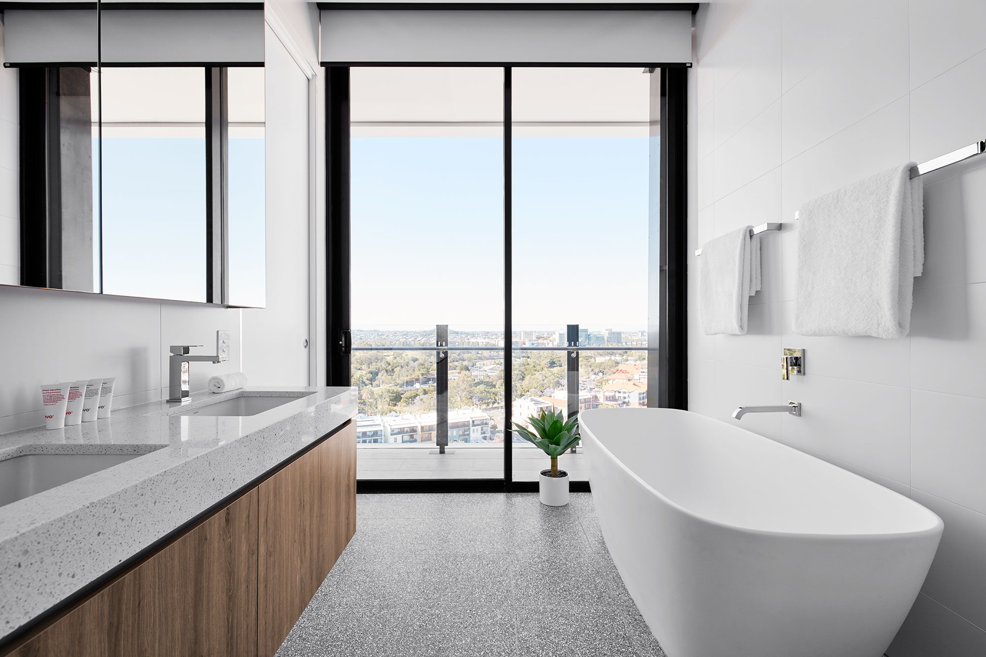 Penthouse bathing. Malin+Goetz bathing.