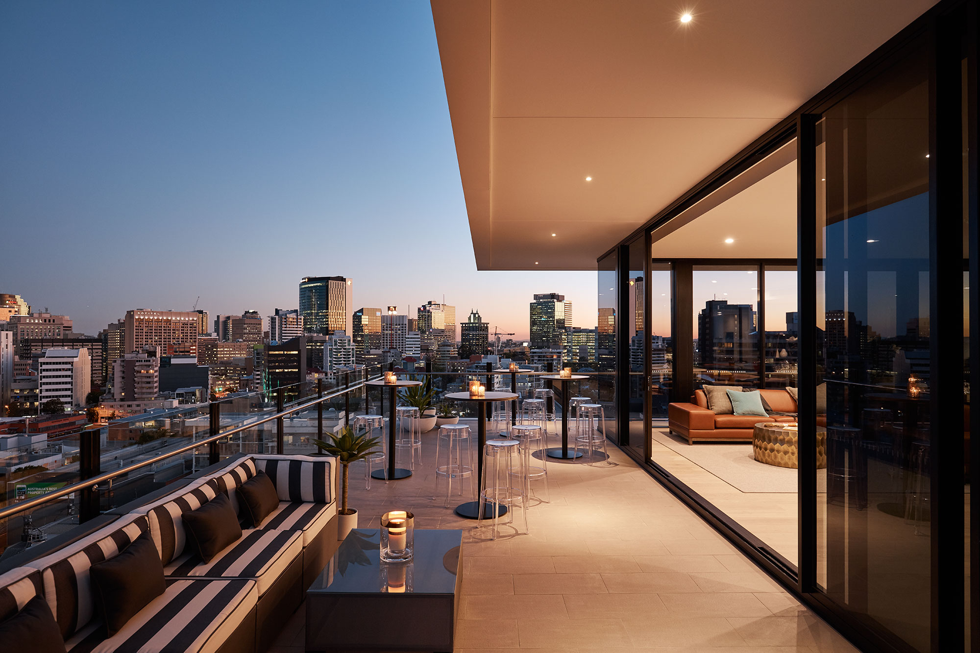 Penthouse deck with city views.