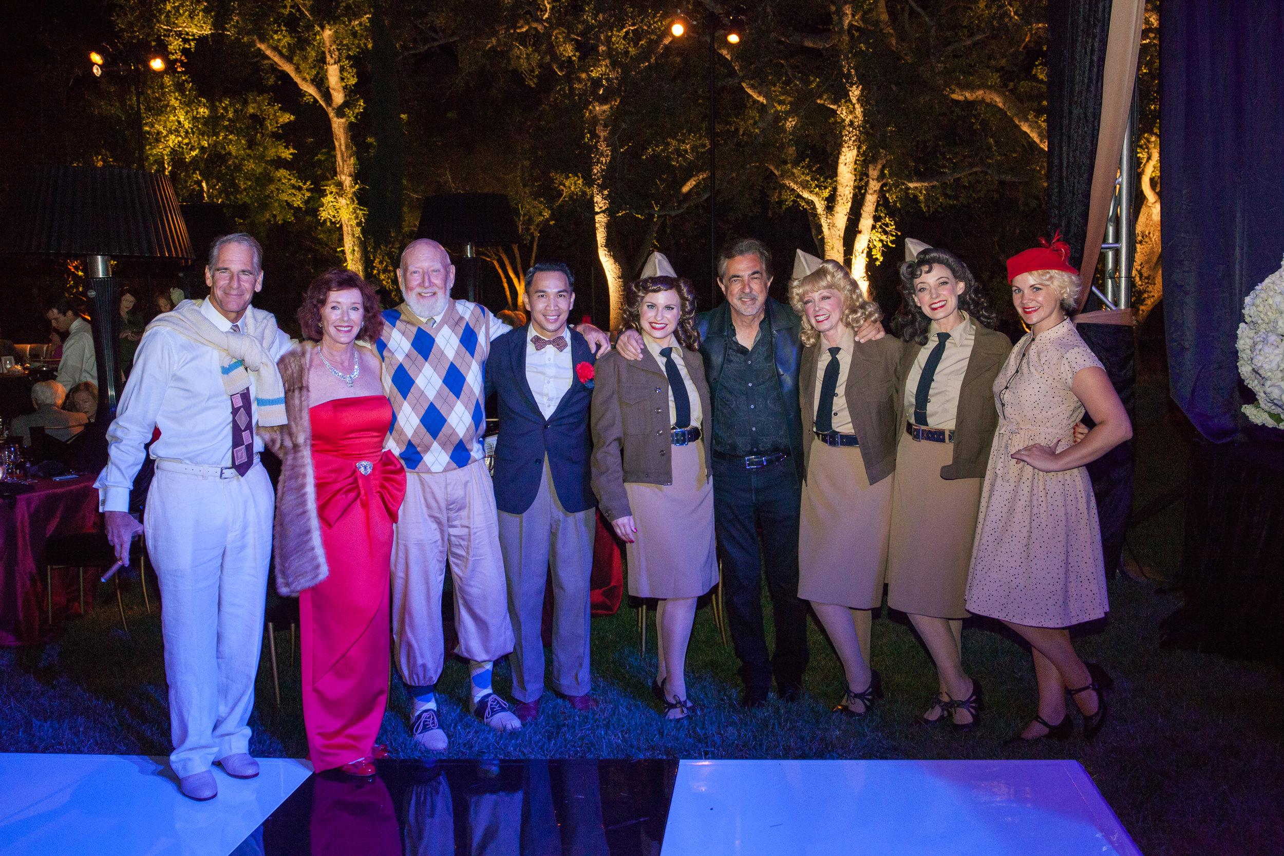 With Scott Bakula, Vivienne and Don Bellisario, Joe Mantegna, and dancers.