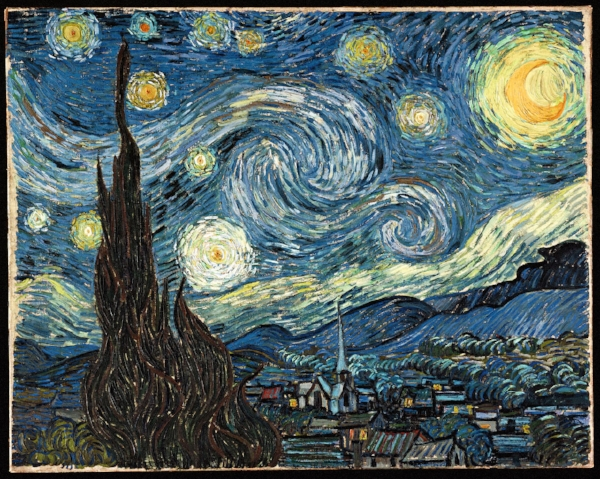 "Vincent van Gogh  (Dutch). 1889. Oil on canvas. 29 x 36 1/4"" (73.7 x 92.1 cm).  Museum of Modern Art , New York City.  I loved  art history  in college (it felt like an Indiana Jones class to me--except about art!) and almost majored in it. In this beautiful painting, Vincent was able to paint the night sky, as seen in all its glory, before light pollution erased it."