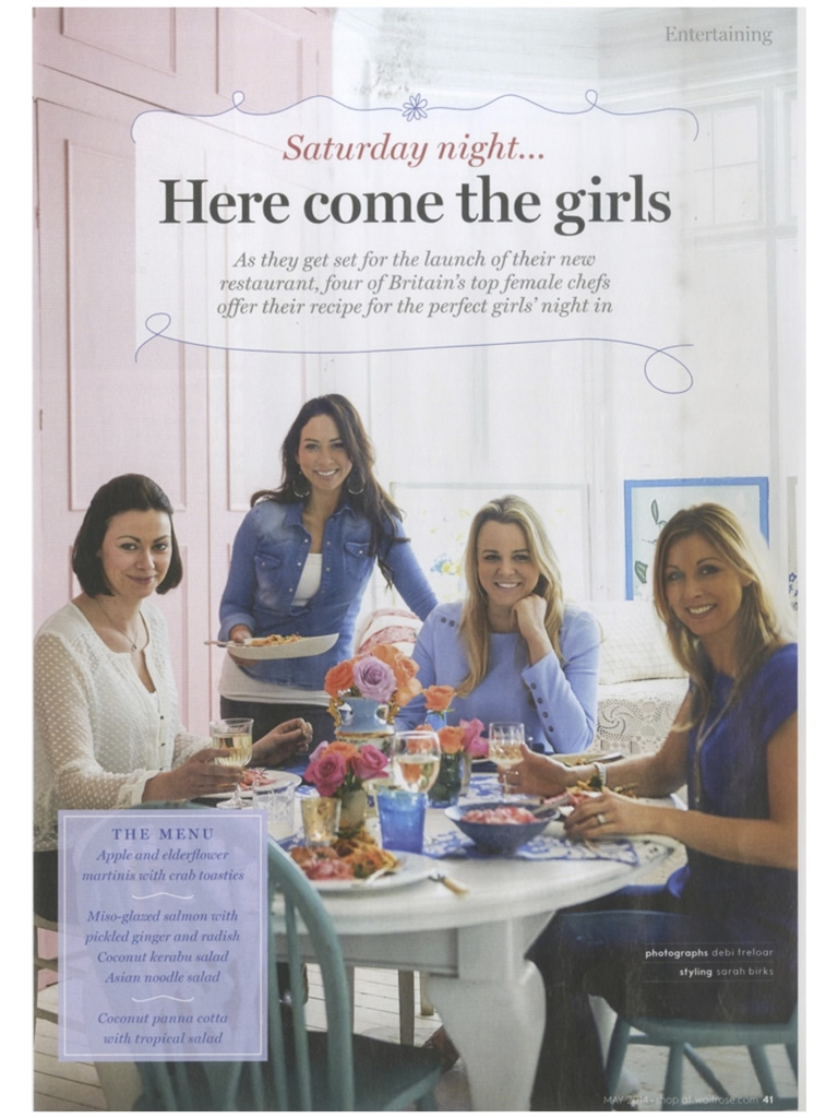 Caroline Artiss, Gee Charman, Sophie Michell and Jo Pratt feature in Waitrose Kitchen Magazine, May 2014, Article Page 2