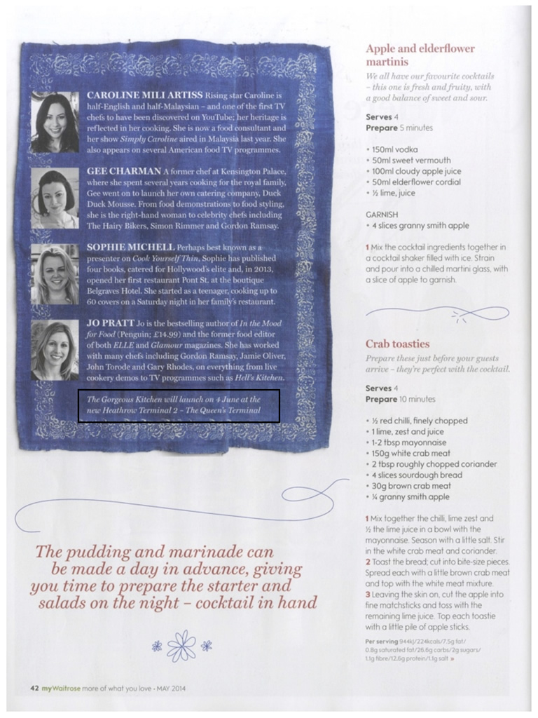 Caroline Artiss, Gee Charman, Sophie Michell and Jo Pratt feature in Waitrose Kitchen Magazine, May 2014, Page 2