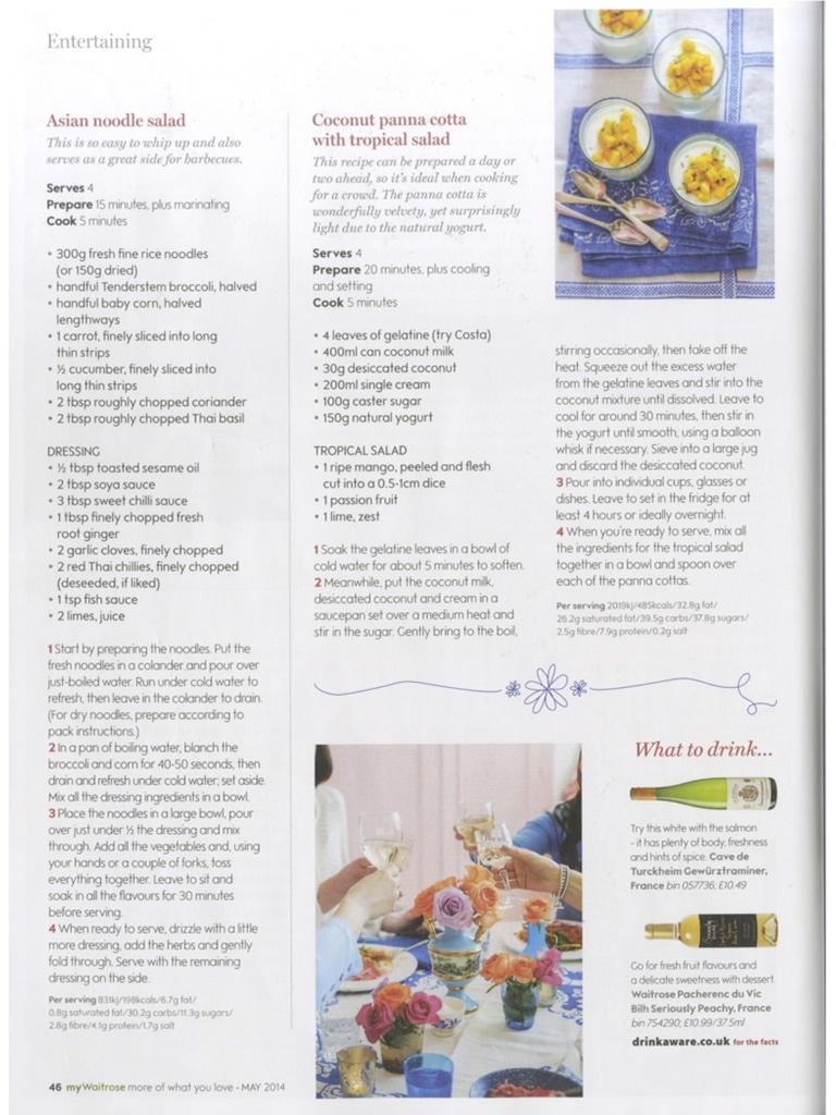 Caroline Artiss, Gee Charman, Sophie Michell and Jo Pratt feature in Waitrose Kitchen Magazine, May 2014, Page 6