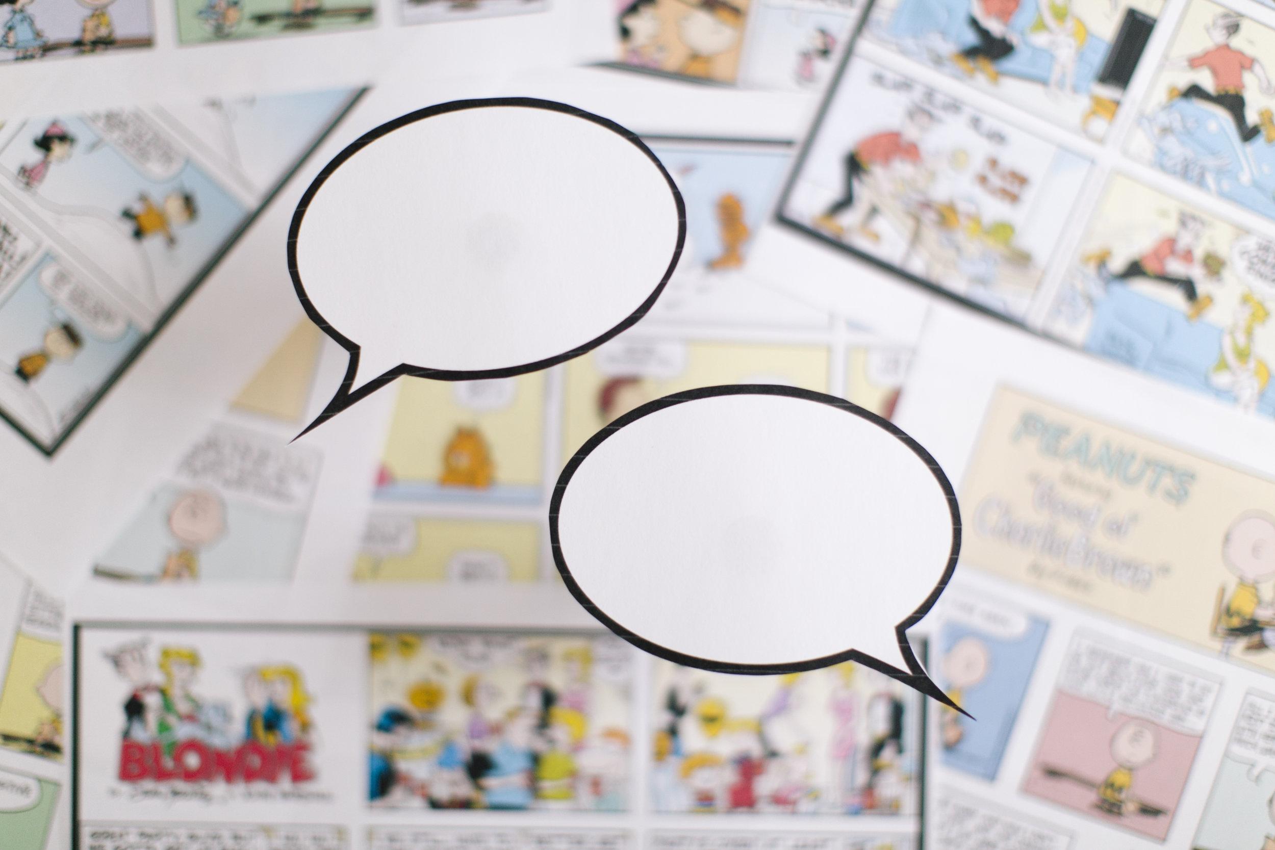 comic pages speech bubbles