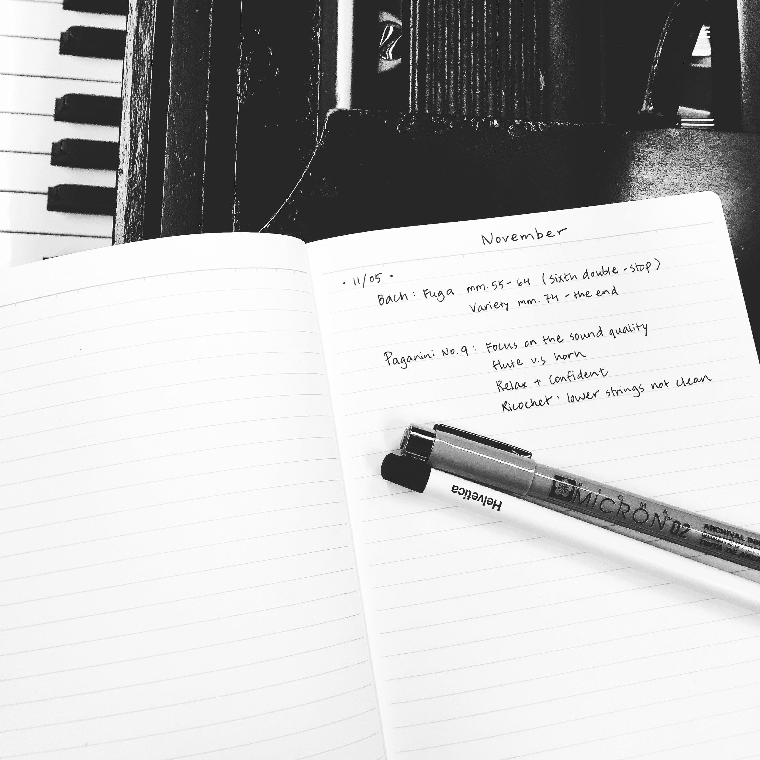My current practice journal