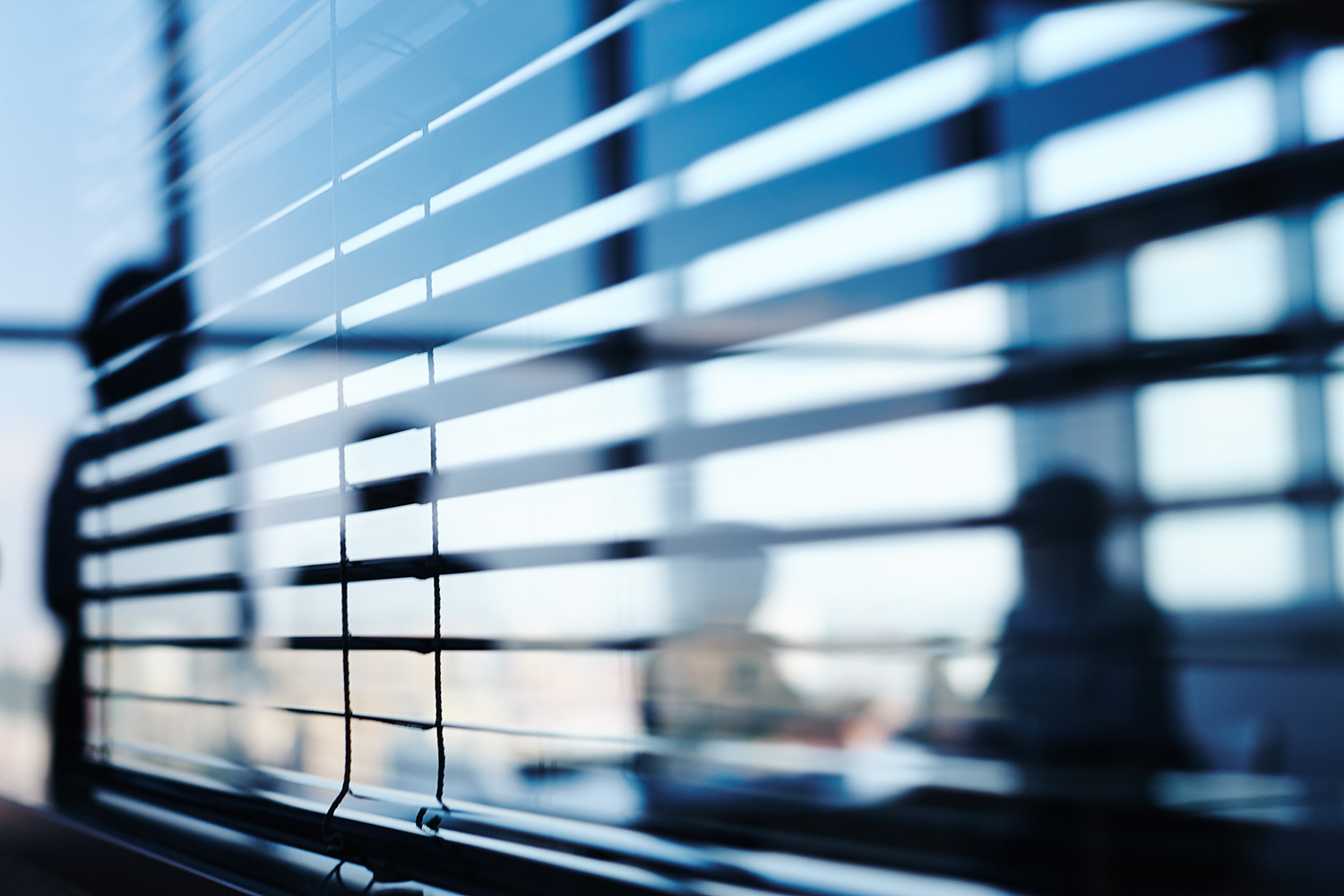 privacy blinds over window during meeting