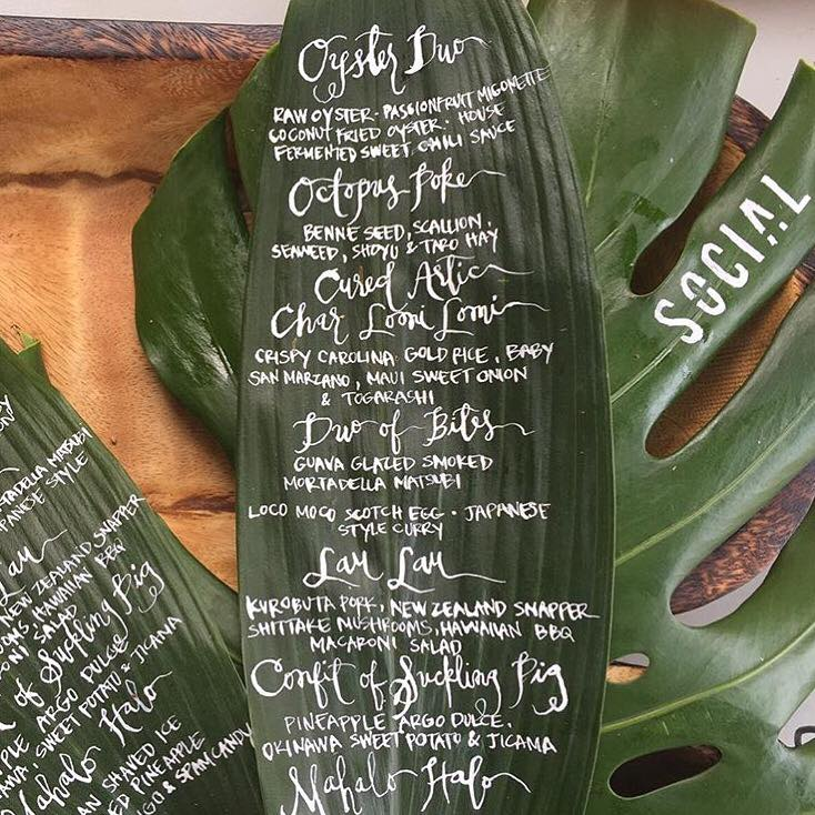 Tropical-Ti-Leaf-Caligraphy-Menus-Dux-In-Tux-Charity-Dinner.jpg