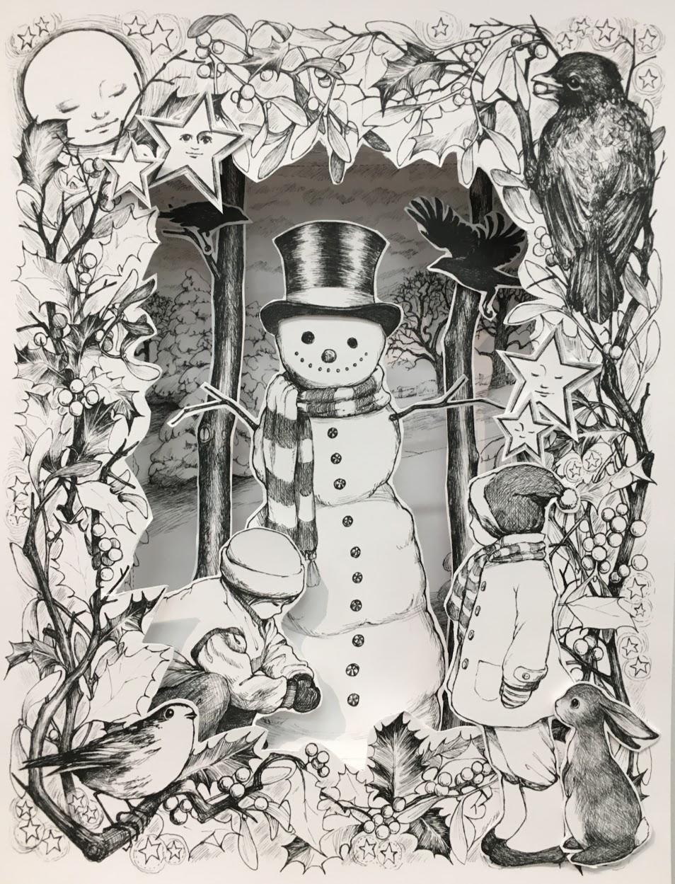 Snowman shadowbox, assembled