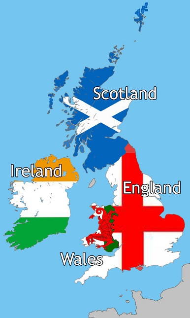UK map England Scotland Ireland Wales