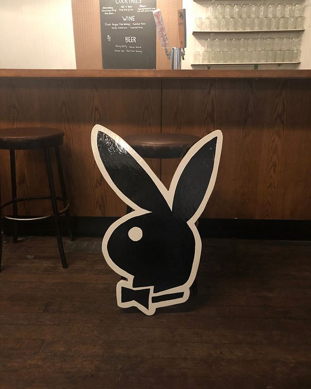 "just finished off this playboy cutout - hand painted on 3/4"" plywood. Stands about 3 feet tall! $180 🐰 shipping available"