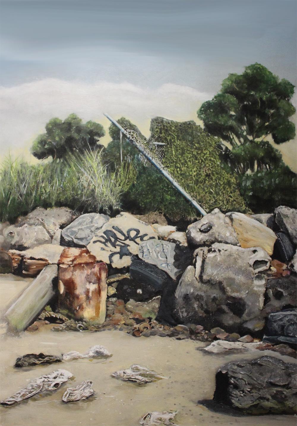 The Beach of Detritus   2016, oil on linen on hardboard  59 x 84 cm