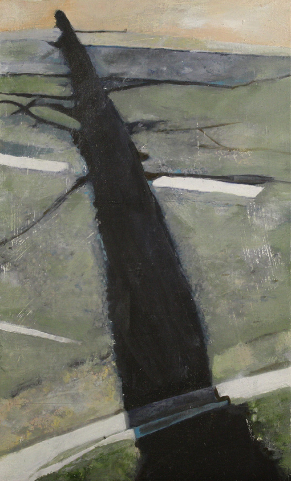 Shadows and Roads:  34800   2011, oil on canvas on hardboard  48 x 29 cm
