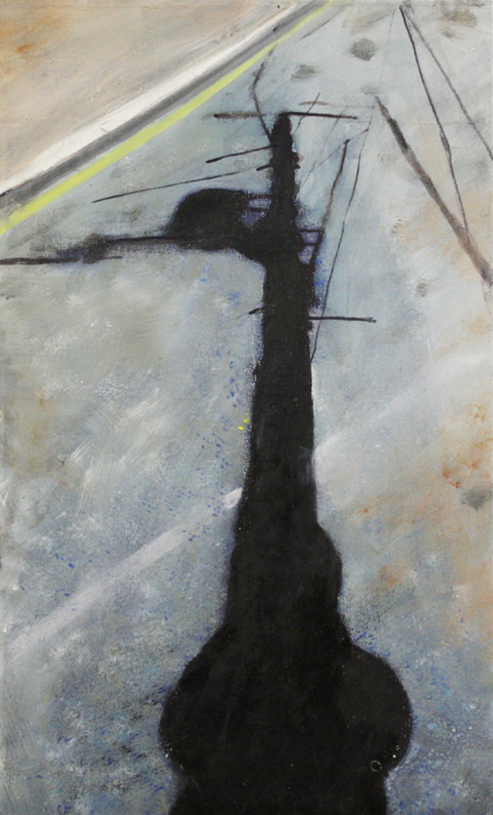 Shadows and Roads:  Bulbious One   2011, oil on canvas on hardboard  50 x 76 cm