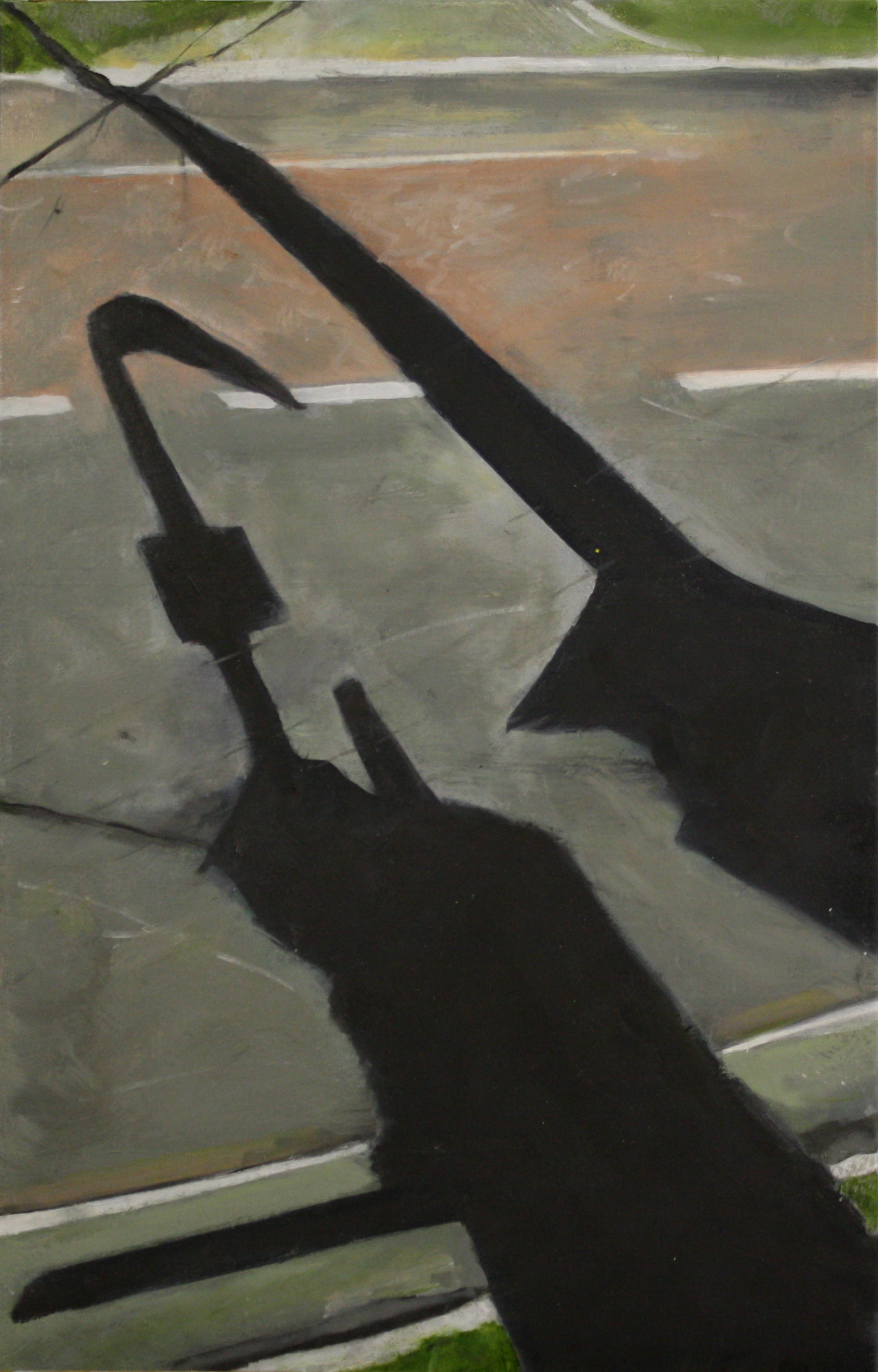 Shadows and Roads:  10616   2011, oil on canvas on hardboard  50 x 76 cm