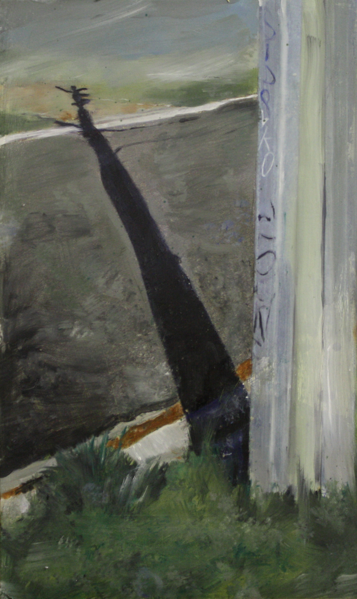 Poles and Roads:  17768   2011, oil on canvas on hardboard  50 x 76 cm
