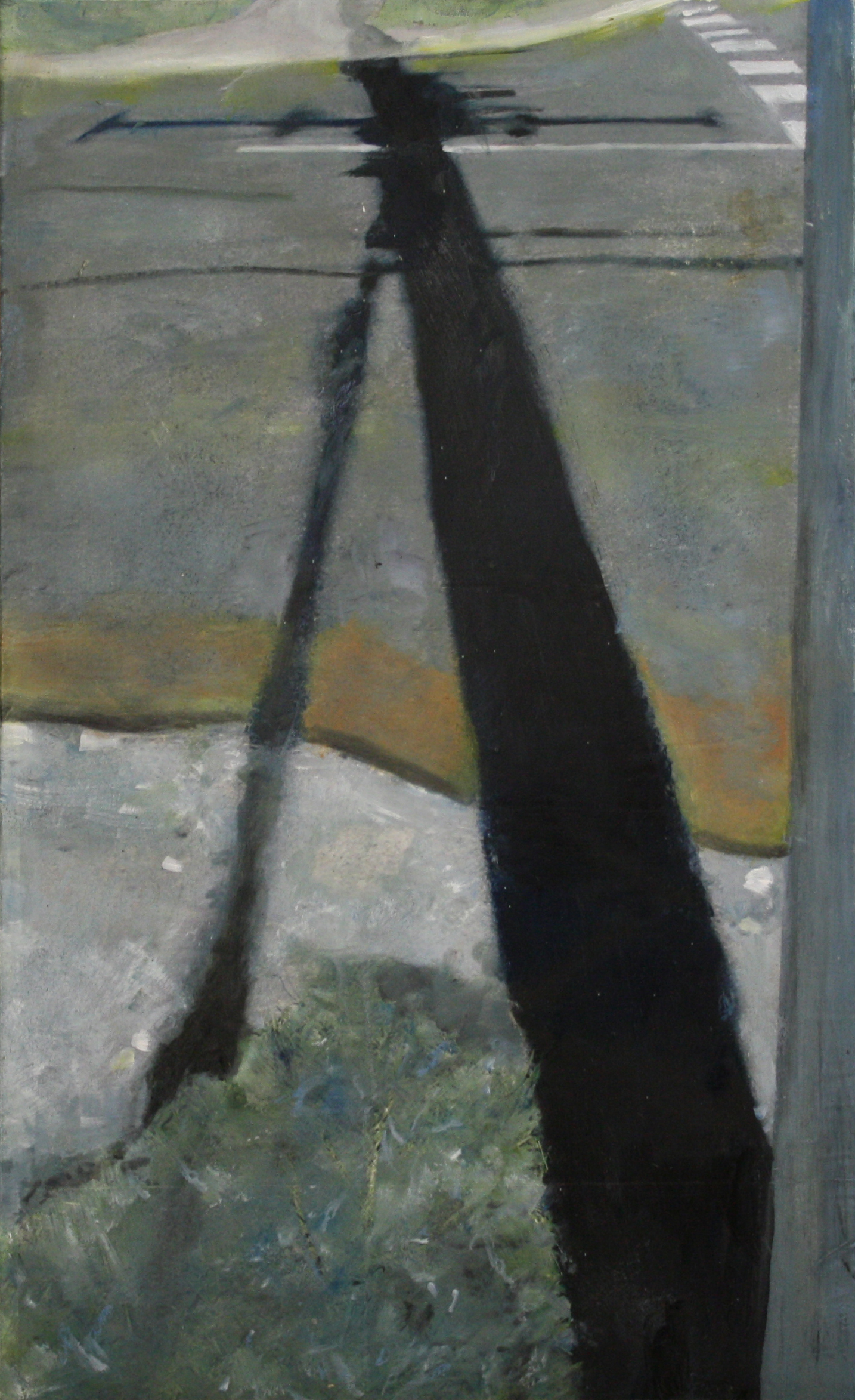 Shadows and Roads:  34800   2011, oil on canvas on hardboard  50 x 76 cm