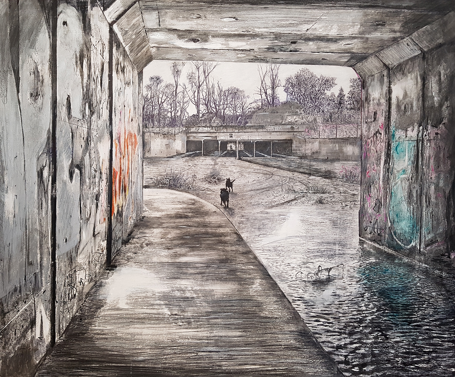"""Someplace Else Unknown, 2018  Pencils, charcoal, highlighter pens, ball-point pens, spray paint on gesso hardboard, 83 x 100 cm  The major prize winners of the  2018 Marie Ellis OAM Prize for Drawing  were announced last night at the opening of the Finalists Exhibition at the Project Gallery, Queensland College of Art.  Major Prize Winner, Dennis McCart """"Someplace Else Unknown."""