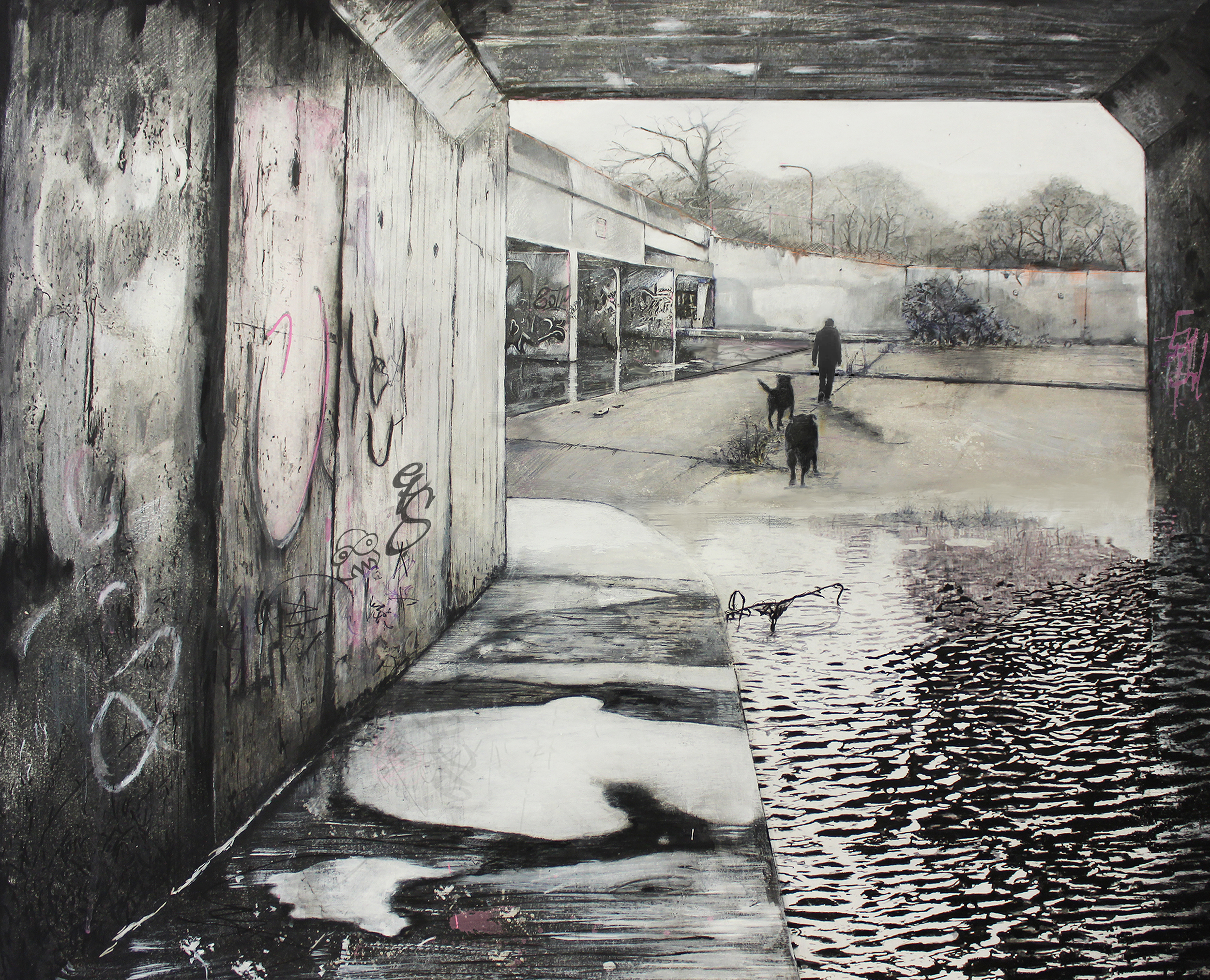 Only the landscape has changed, 2018 Pencils, charcoal, highlighter pens, ball-point pens, spray paint on gesso hardboard, 83 x 100 cm