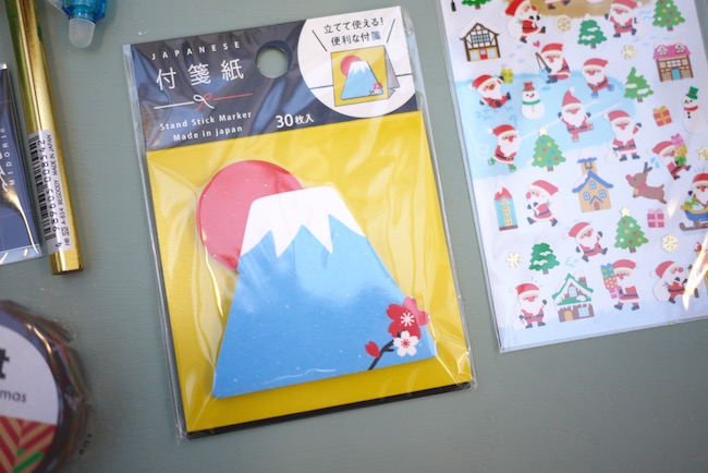 Mount Fuji sticky notes. The santa stickers were a gift and not included in all boxes. Photo credit:  All Things Stationery