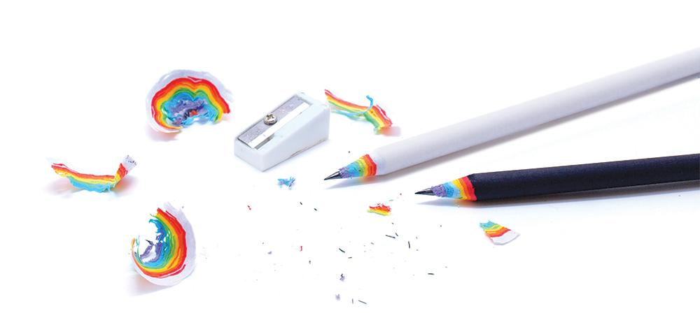 Rainbow pencils and paper rainbow sharpenings