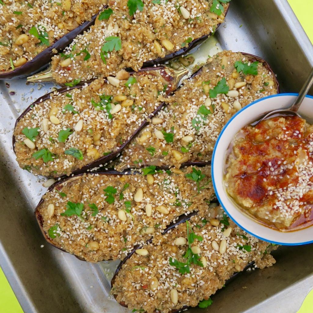 Stuffed aubergine with lemon infused quinoa -