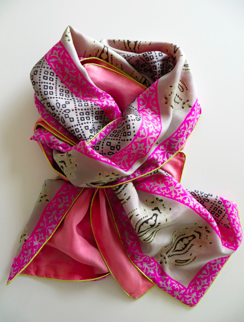 JODIE AZIZ Luna Pebble, black, pale lime green and hot pink printed silk with salmon pink plain silk £59.00
