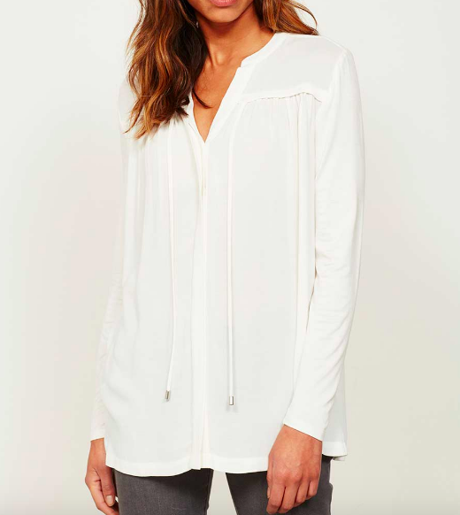 MINT VELVET IVORY RUCHED TIE FRONT BLOUSE £79
