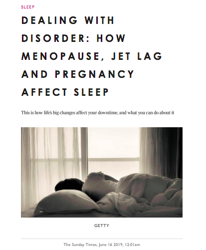 Sunday Times PositivePause article on menopause and sleep disorders