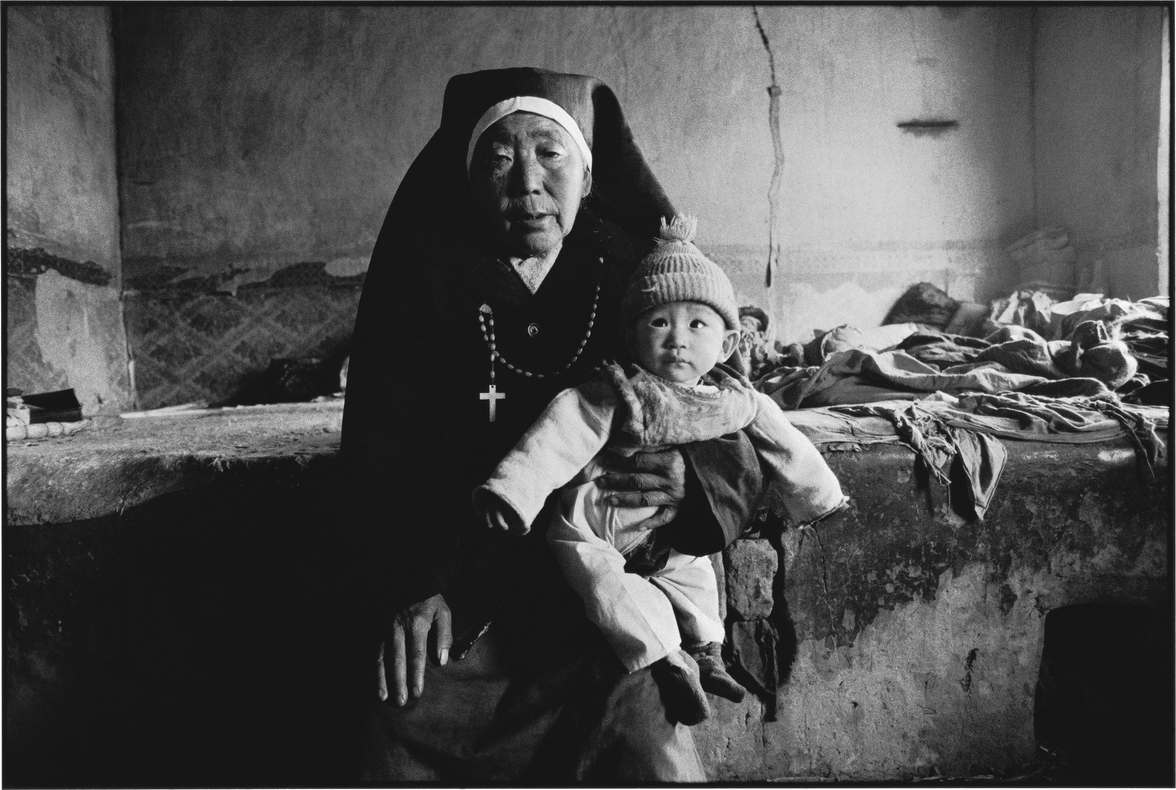 A Mongolian Nun and the Abandoned Girl She Adopted, Inner Mongolia, China