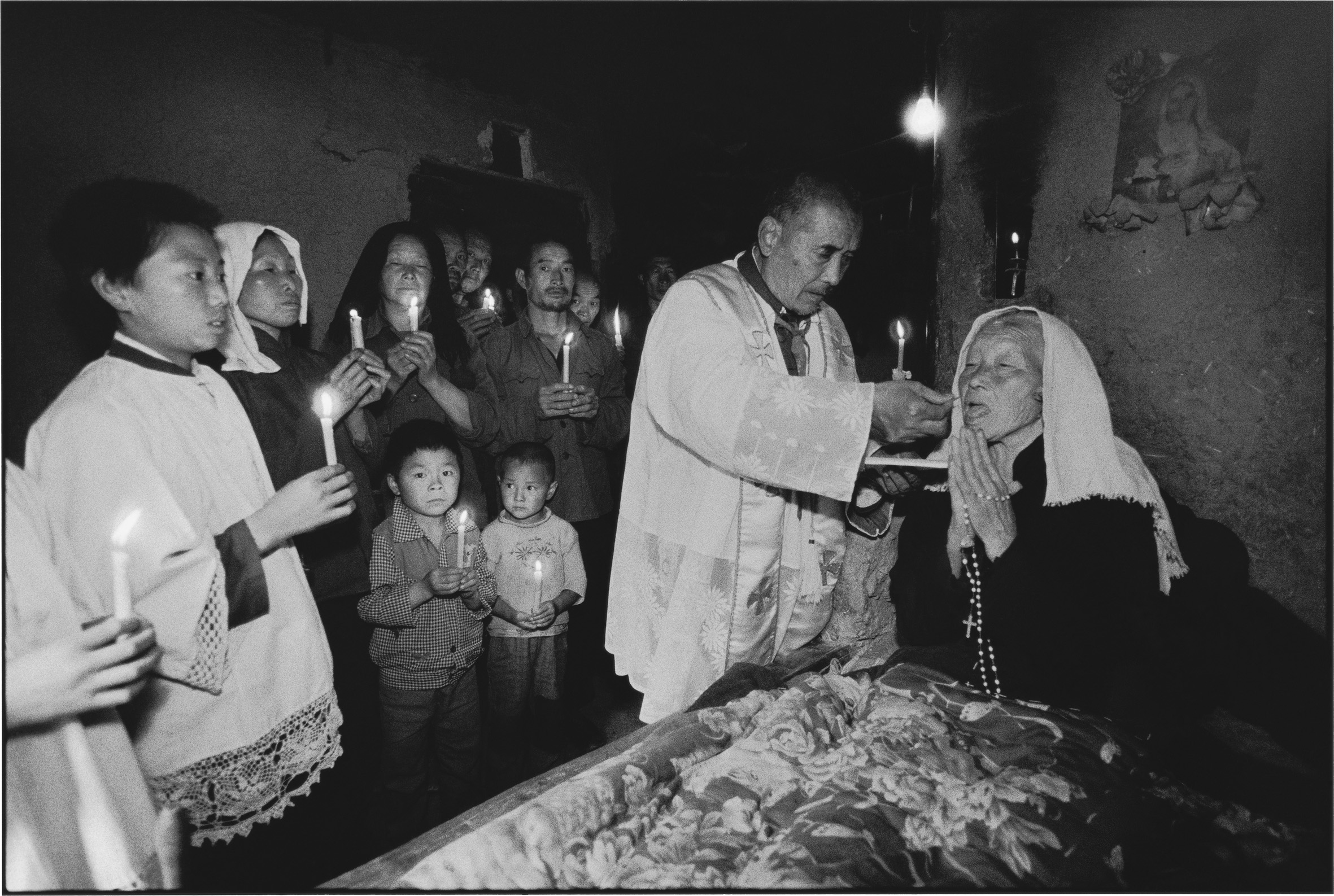 A Sick Woman Receives Communion with Her Church, Shaanxi, China