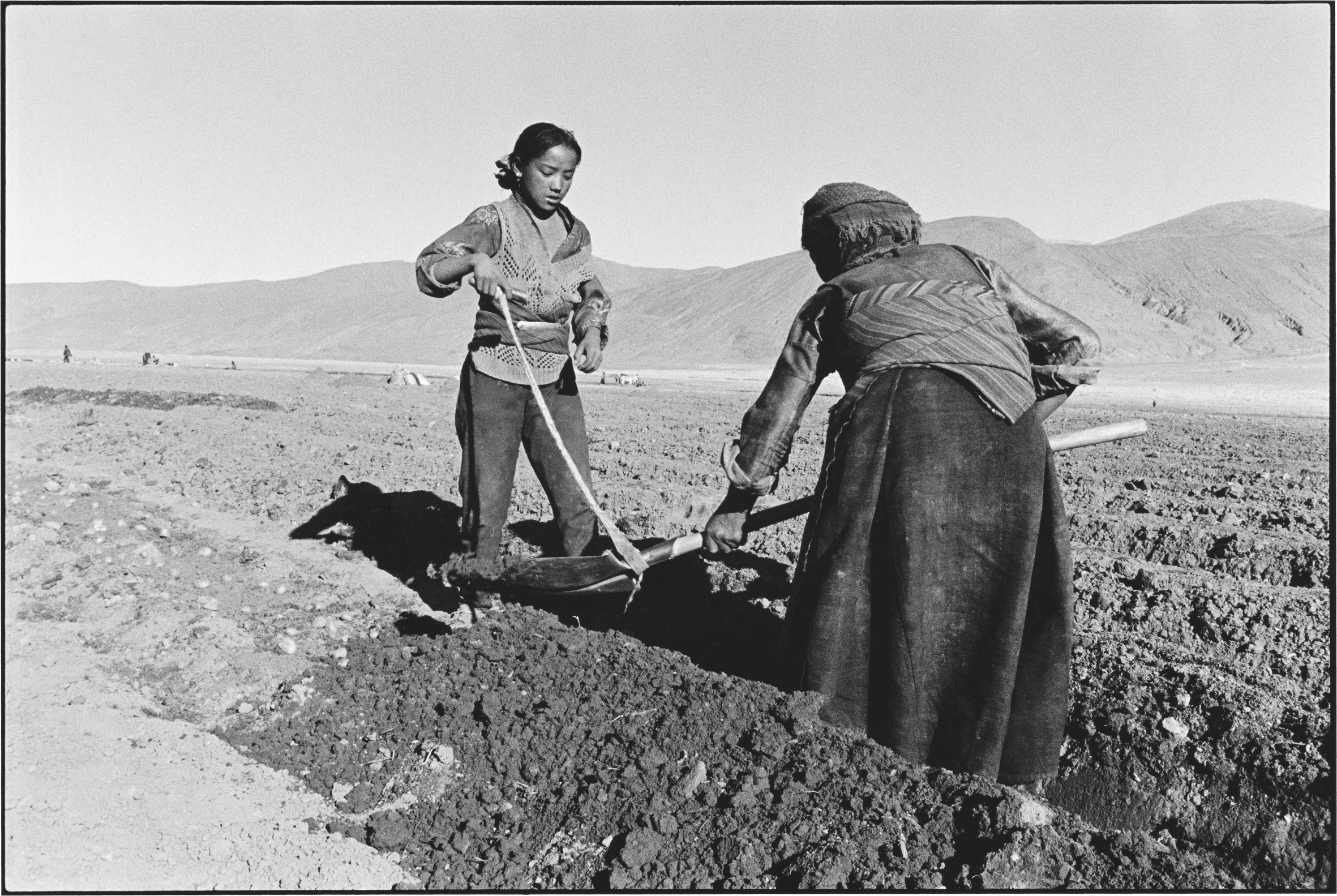 Mother and Daughter Planting Potatoes, Tibet