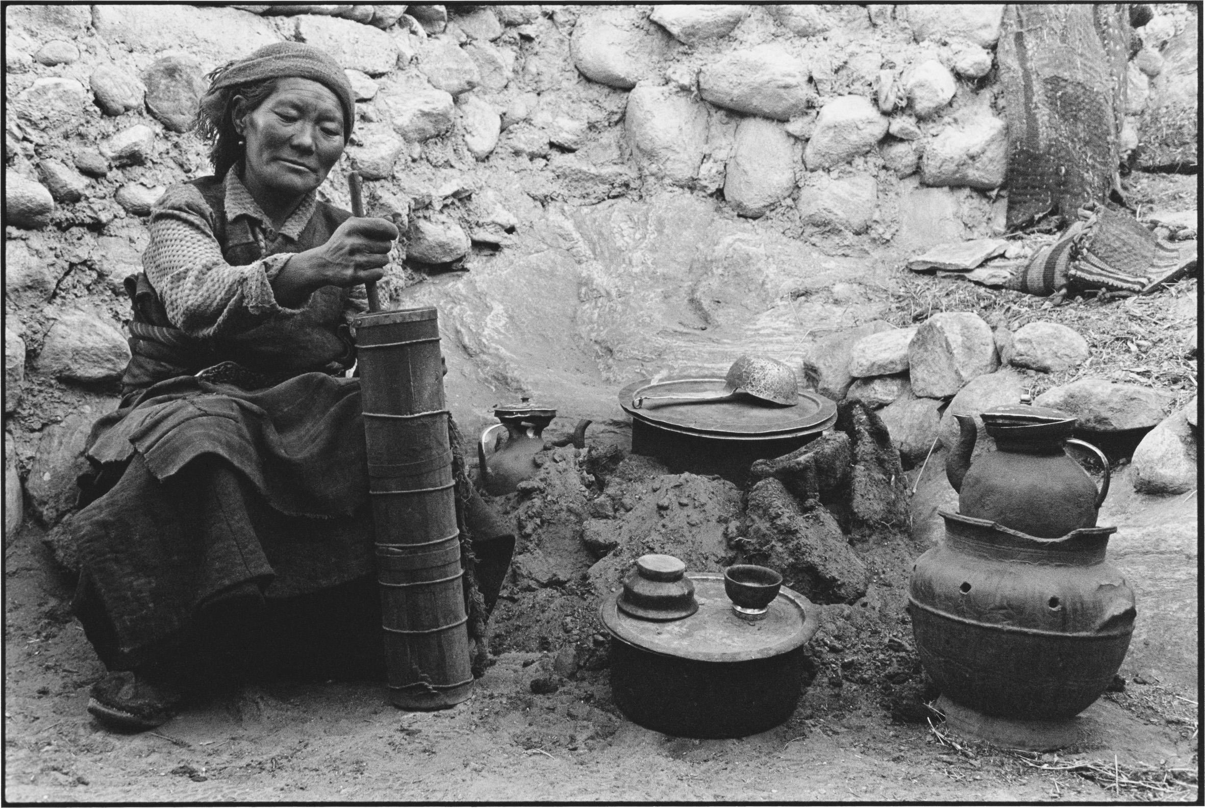 A Woman Making Tea, Tibet
