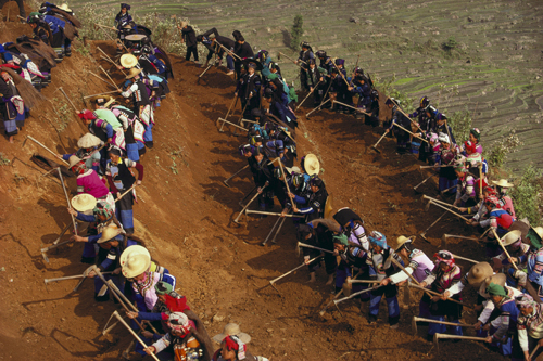 Yi villagers working near Yuanyang, Yunnan Province