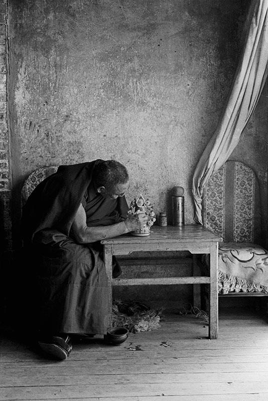 A monk making butter flowers, Gansu