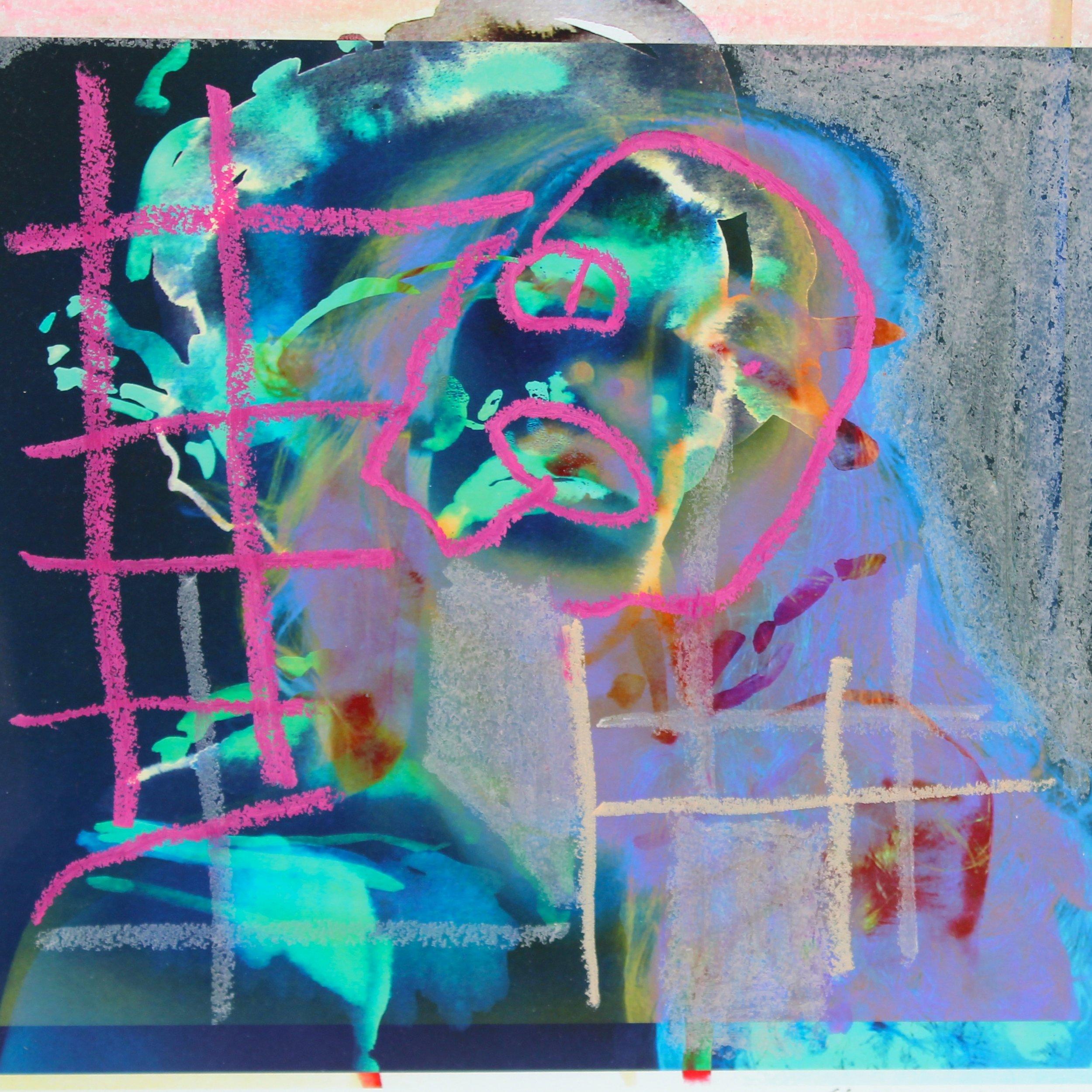 Selfie II  Oil pastel on Giclée print  42 cm x 42 cm  2016  Sold