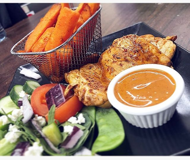 Today's specials have been flying out! Two Piri-Piri Chicken thighs served with sweet potato fries and salad 🥗 #avocadospecial #healthyeating