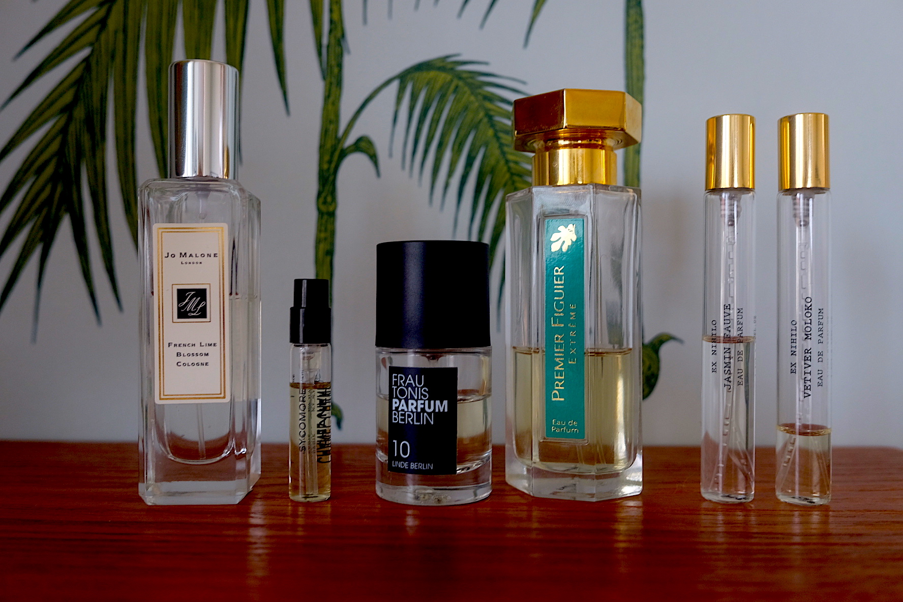 French Lime Blossom Cologne, Sycomore, Linde Berlin, Premier Figuier Extreme, Jasmin Fauve och Vetiver Moloko.