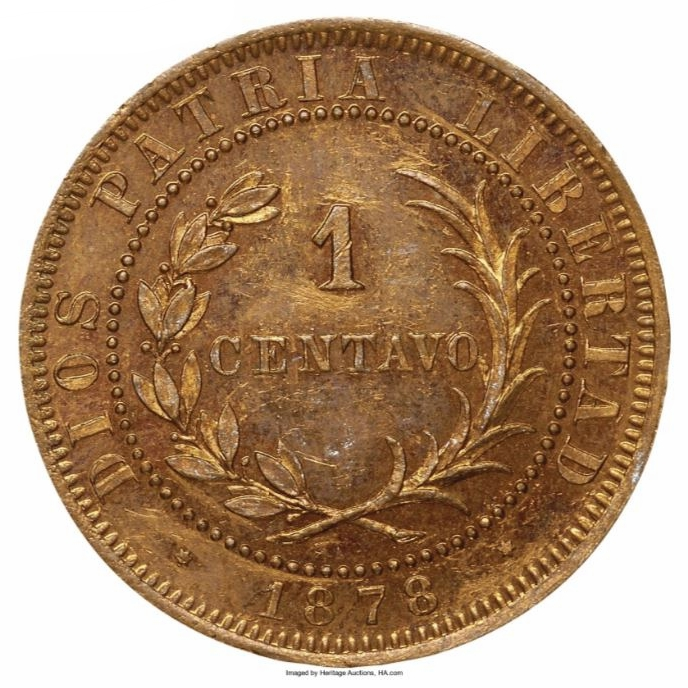 Patron de 1 centavo 1878. Monedas Republica Dominicana