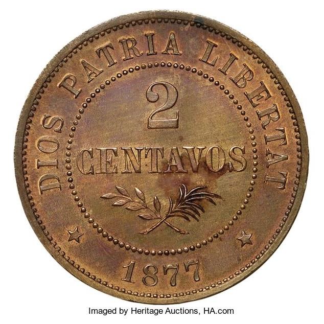 Patron de moneda 2 centavos 1877. República Dominicana