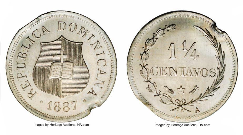 PATRON MONEDA 1 1/4 1887. REPUBLICA DOMINICANA