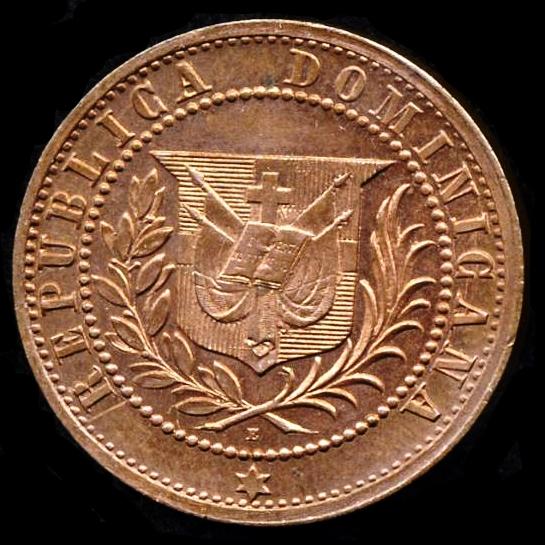 Patron de moneda 1 centavos 1877. República Dominicana