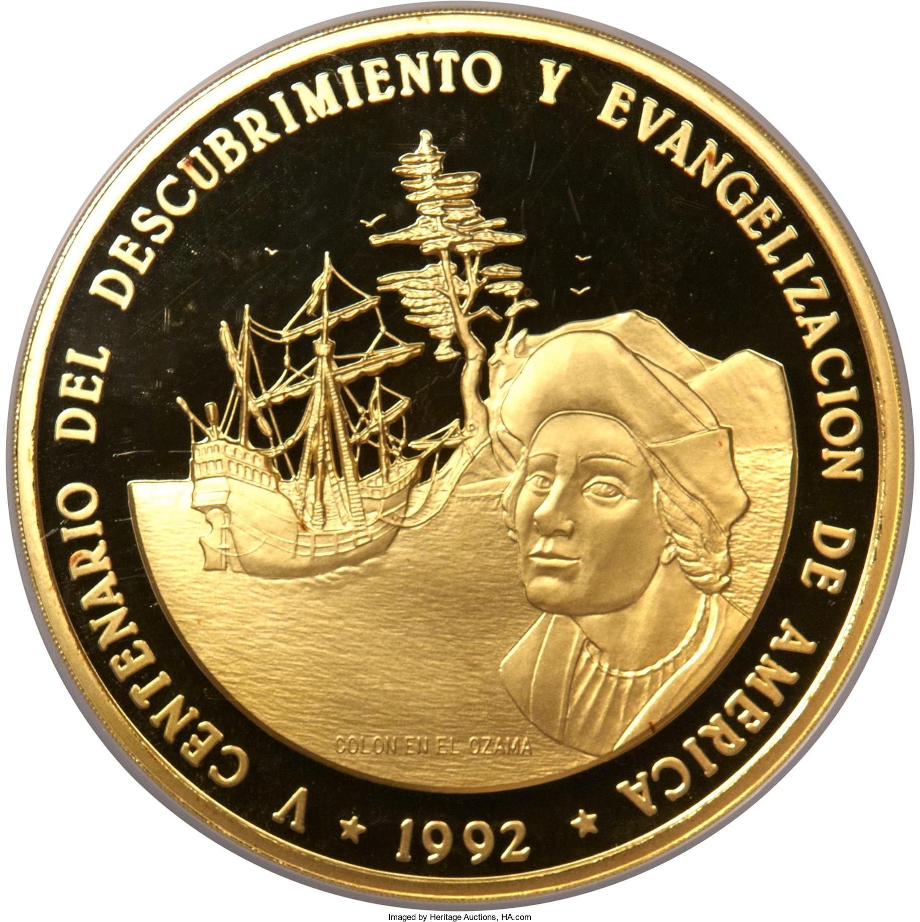 Moneda conmemorativa V centenario del descubrimiento y evangelizacion de america.