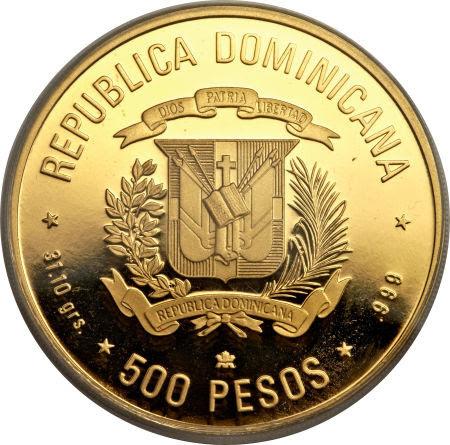 V Centenario del Descubrimiento y Evangelización de América. 1988. 500 pesos. República Dominicana