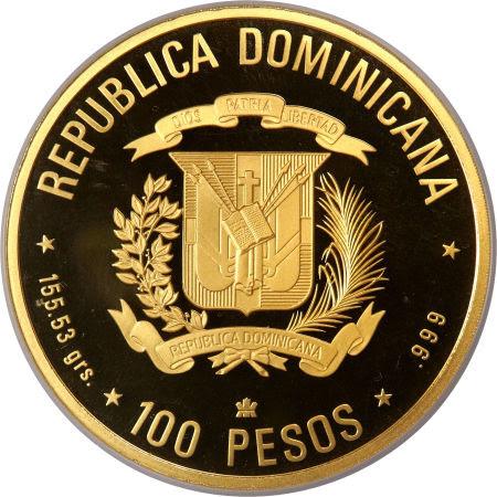V Centenario del Descubrimiento y Evangelización de América. 1990. 100 pesos. República Dominicana