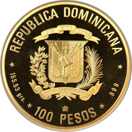 V CENTENARIO DEL DESCUBRIMIENTO Y EVANGELIZACIÓN DE AMÉRICA. 1992. 100 pesos. República Dominicana